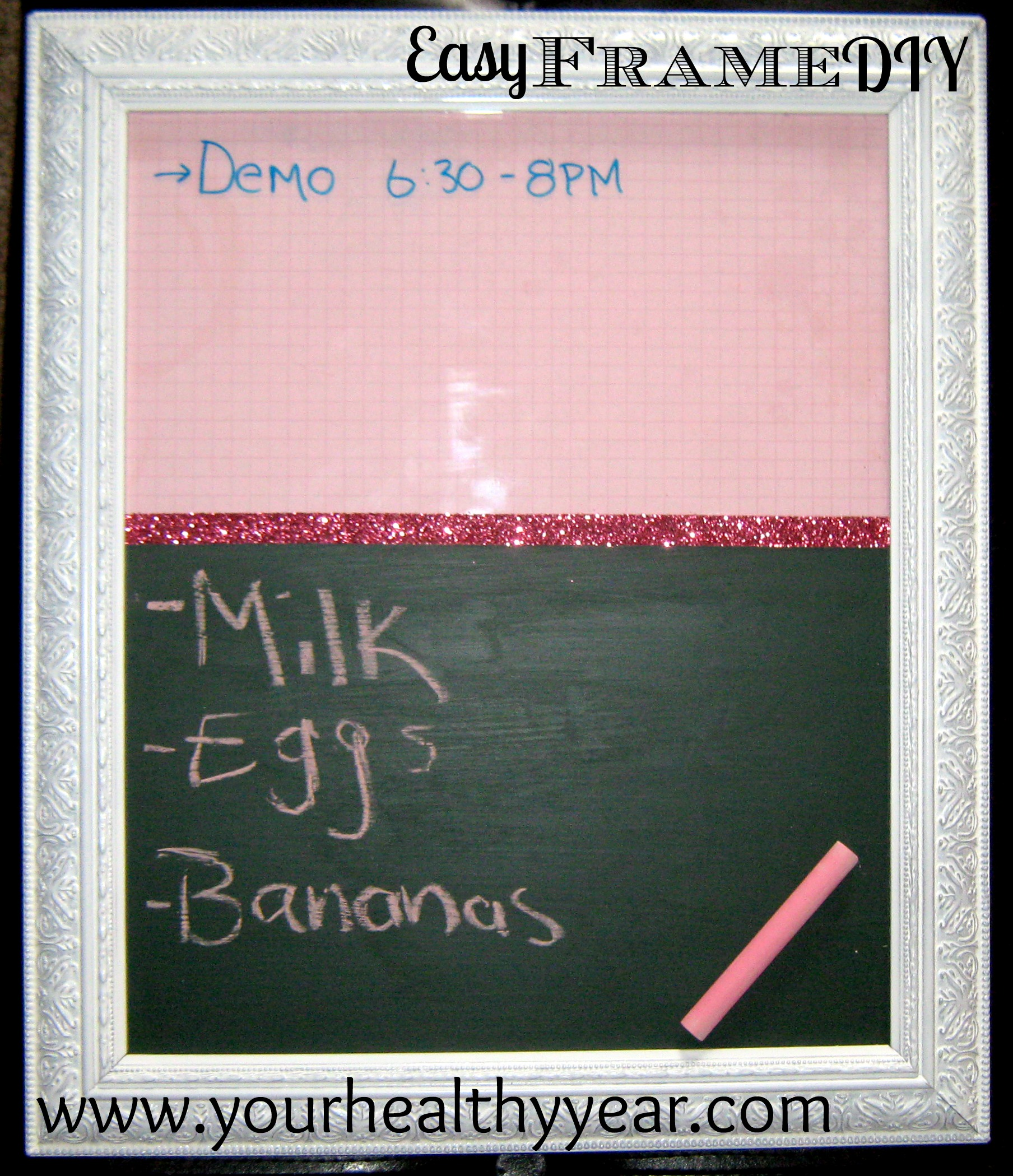DIY Projects ~ Easy DIY Chalkboard & Dry Erase board made from a thrift store frame. A super easy DIY project that only cost $20!