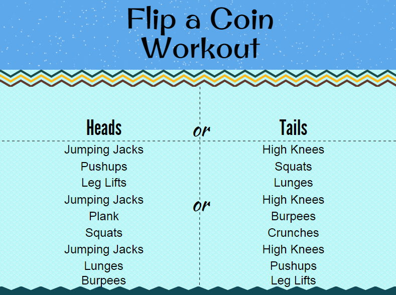 Flip a Coin Workout Challenge is random and FUN!
